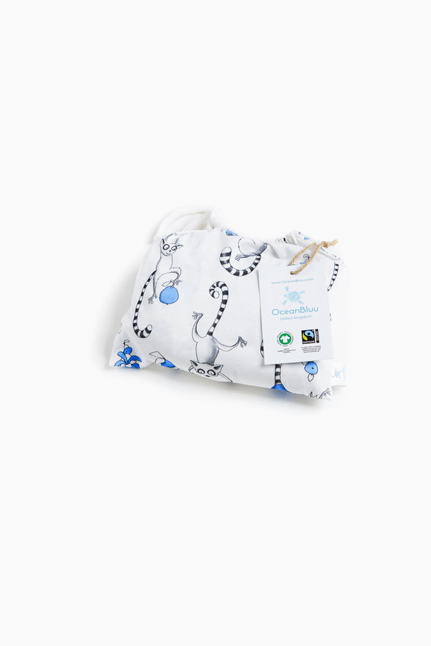 """ PLAYFUL LEMURS BLUE"" - Shop Organic kids clothing, sheets, bedding, pyjamas, underwear & more"