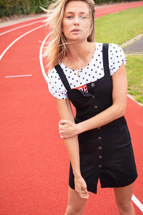 RACHEL black button front dungaree dress
