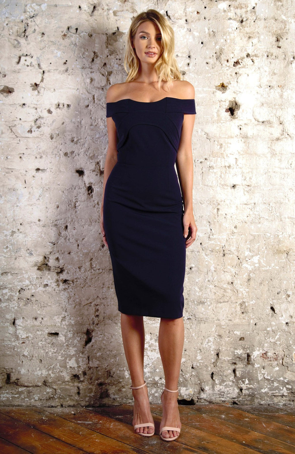 FLORENCE off the shoulder pencil dress - navy