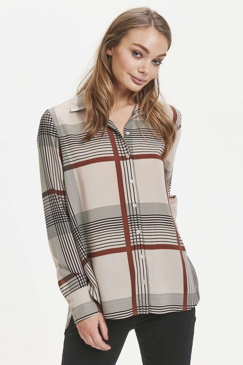 NASSA long sleeved checked shirt - chateau grey