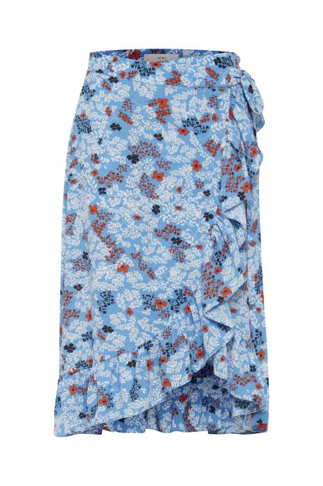 BUNDI co-ord floral wrap skirt - azure blue