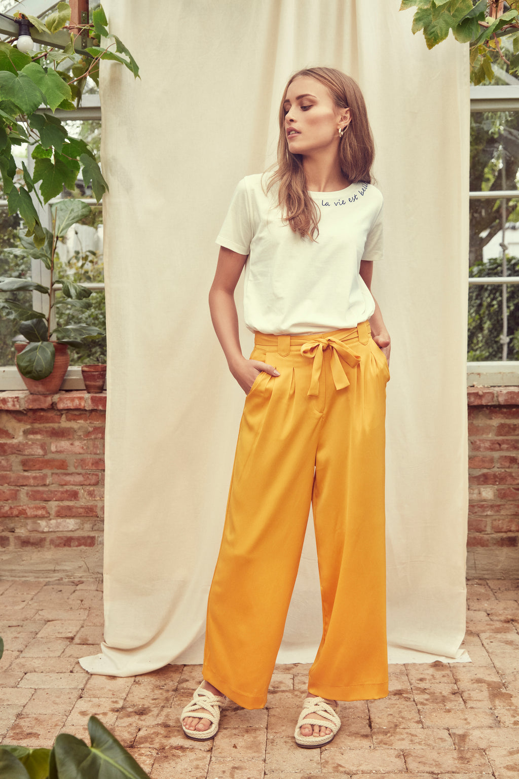 INGRID co-ord high waisted tie belt loose fit trousers - mango mojito