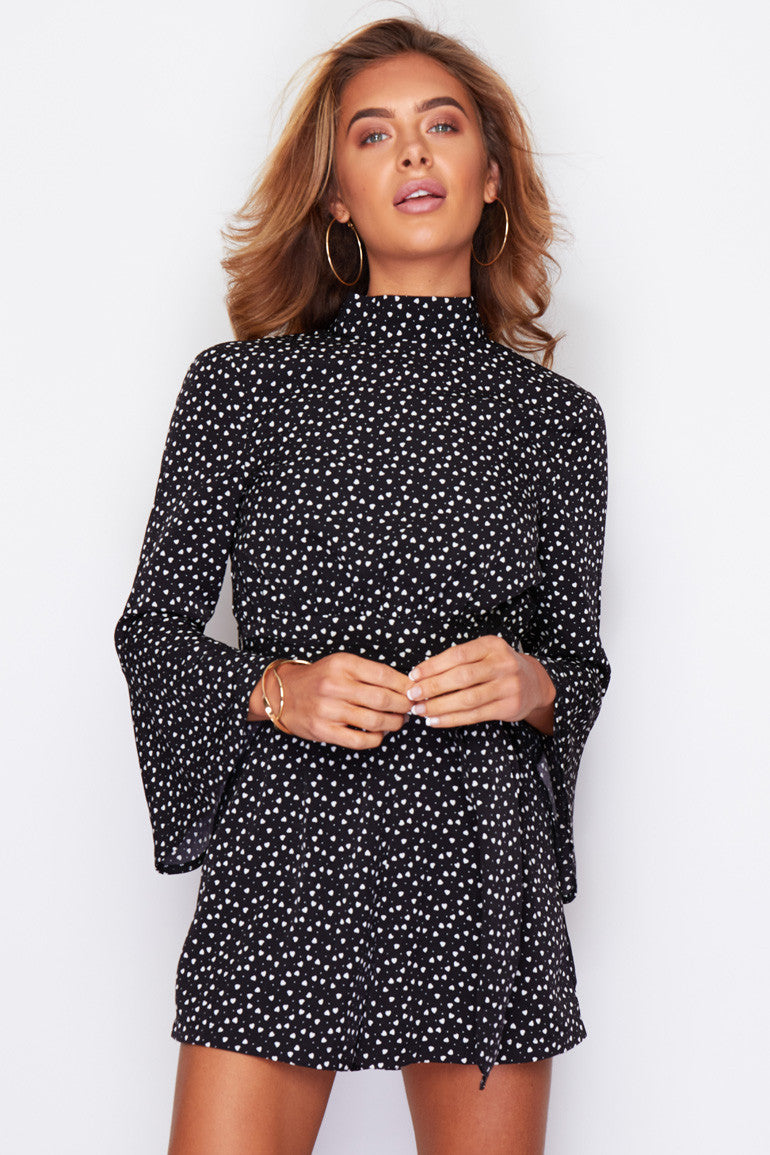 Young at heart flute sleeve playsuit - black