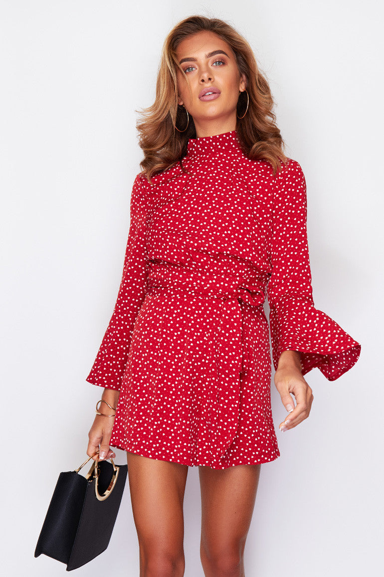 Young at heart flute sleeve playsuit - red