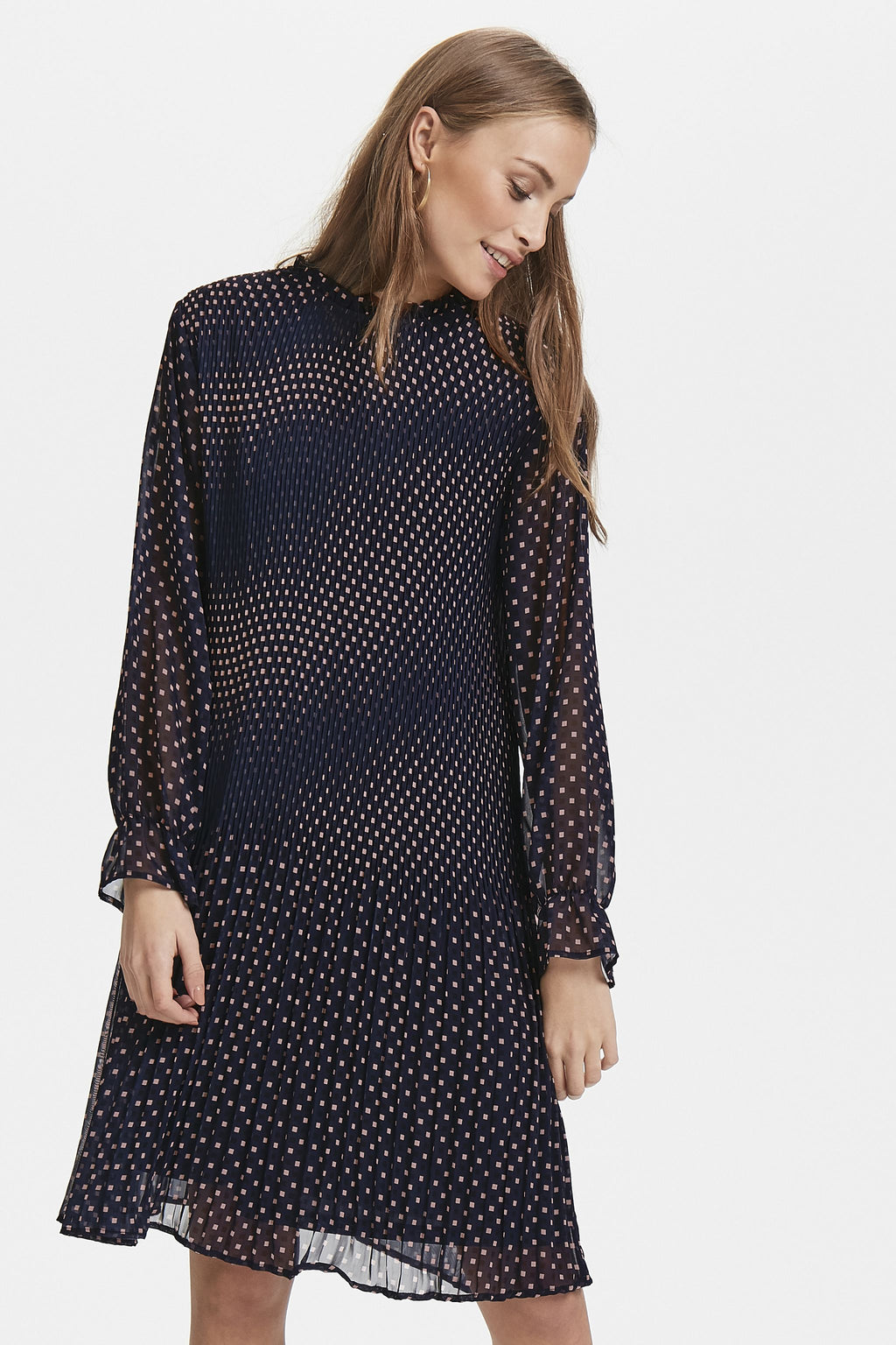 NALLY softly pleated long sheer sleeve dress - total eclipse