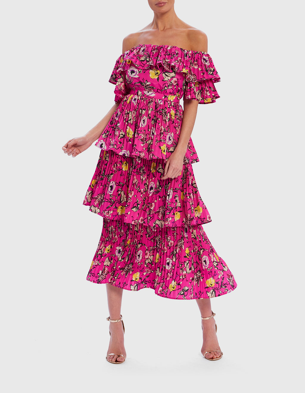 Pink floral print bardot tiered ruffle midi dress