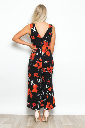 POLLY floral print v neck culotte jumpsuit - black/orange