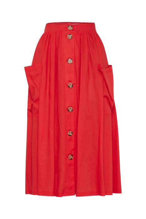 RENATA button through midi skirt - high risk red