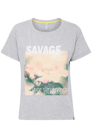 ANGELA 'Savage' slogan t shirt - grey