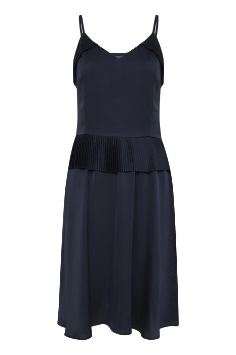 SKY pleated peplum dress - navy
