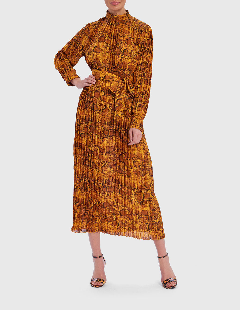 Pleated yellow snake print midi dress