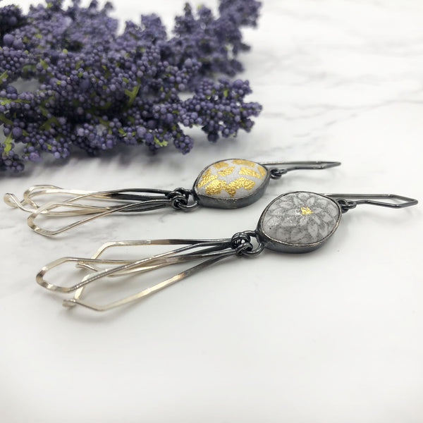 Jera Lodge & Nicolette Absil - Asymmetrical Enamel Chrysanthemum Twist Earrings