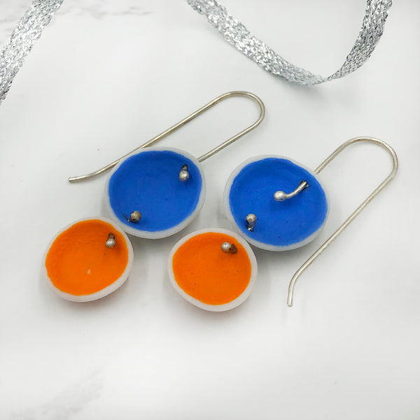 Lynn Latta - Blue and Orange Drop Earrings