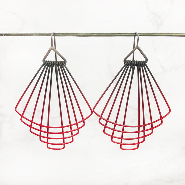 Jera Lodge - Red Deco Short Fan Earrings