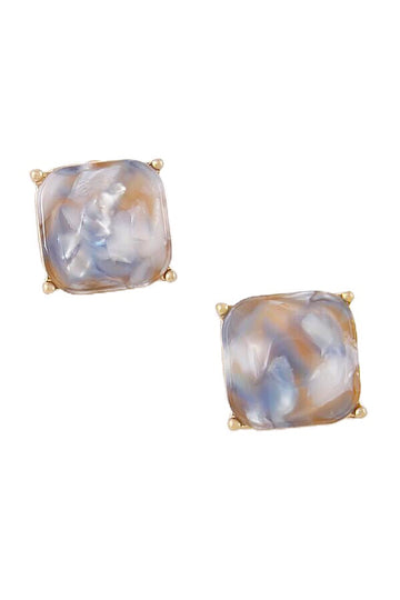 Stone Square Stud Earrings