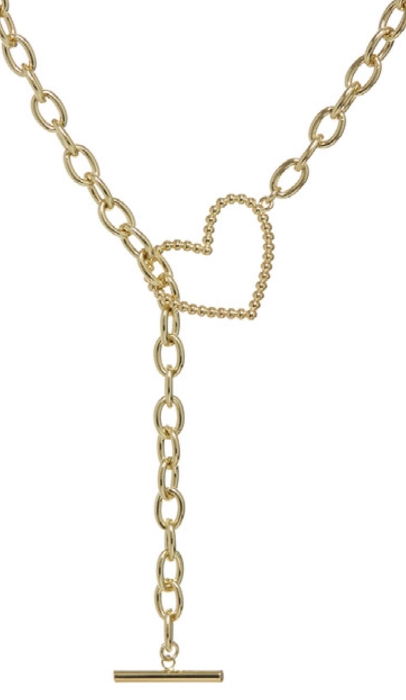 The Heart + Chain Lariat - Gold