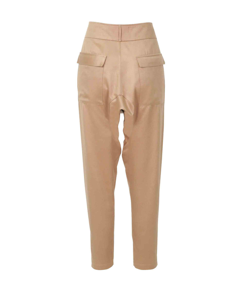 Lustrous tapered-leg trousers with embellished ankle