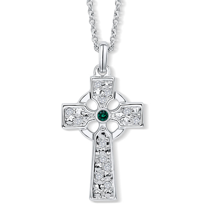 Celtic Cross Pendant set with Emerald Crystal