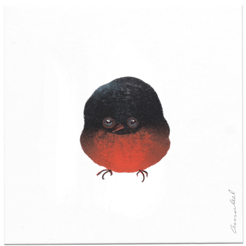 INKDROP BIRD NO.062 - DARK GREY & RED -  ORIGINAL DRAWING