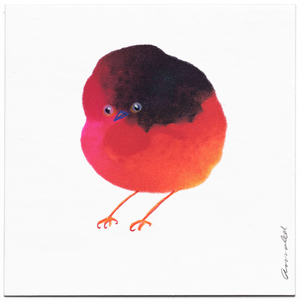 INKDROP BIRD NO.067 - NEON PINK, CRIMSON, BLUE & ORANGE  - ORIGINAL DRAWING