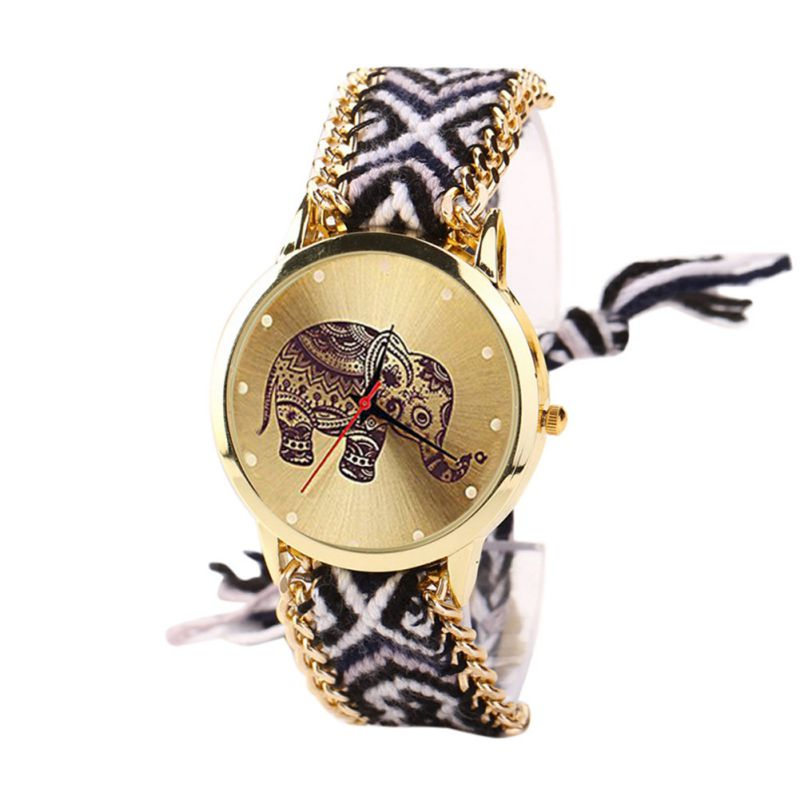 Women's Elephant Quartz dial Wristwatches Colorful Braided Watchband