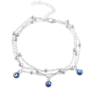 Multi-layered Blue Beaded Anklet