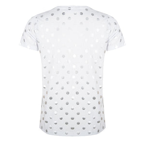 About Jackie - zilveren dot print t-shirt - wit