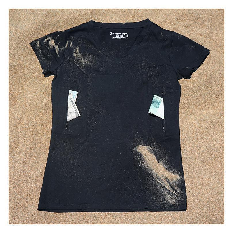 Women's Fitted V-neck T-shirt with 2 pockets