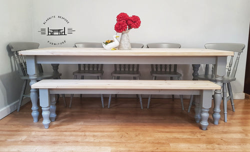 7ft Farmhouse table with 5 chairs and bench