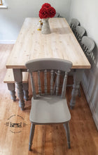 Load image into Gallery viewer, 7ft Farmhouse table with 5 chairs and bench - Spindle Back