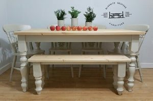 Farmhouse set with Turned Legs Bench