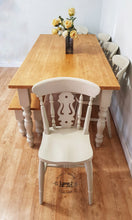 Load image into Gallery viewer, 7ft Farmhouse table with 5 chairs and bench - Fiddleback