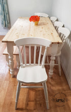 Load image into Gallery viewer, 7ft Farmhouse table with 5 chairs and bench - Slat Back