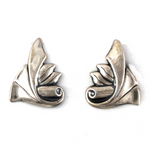 Jewel Art Triangle Scroll Sterling Silver Earrings