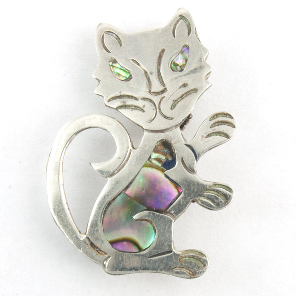 Vintage Abalone Shell Inlay Cat Pin