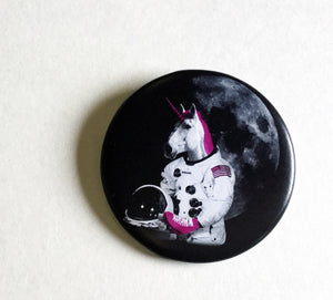 Roller Skating Unicorn Astronaut 2.25 Inch Magnet - Roller Derby, Fridge Magnet, Refrigerator Magnets, Unicorn Magnet, Unicorn Artwork