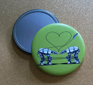 2.25 Inch Mirror: Love AT-AT First Sight - Green