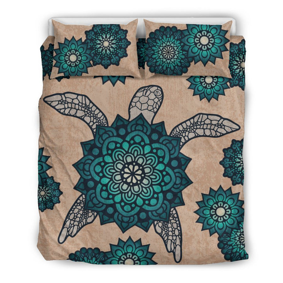 Mandala Shell Sea Turtle - Bedding Set - the ocean vibe Ocean Apparel