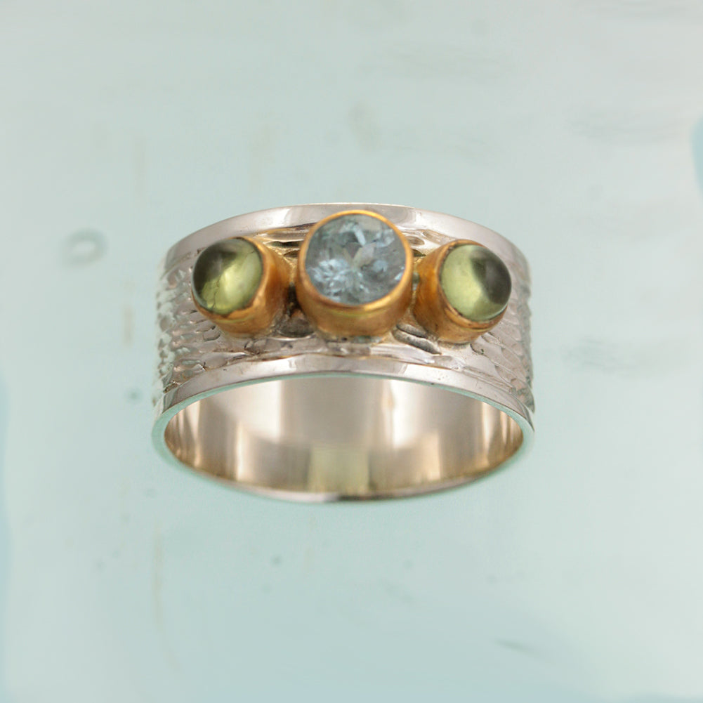 Blue Topaz Peridot Silver & Gold Ring