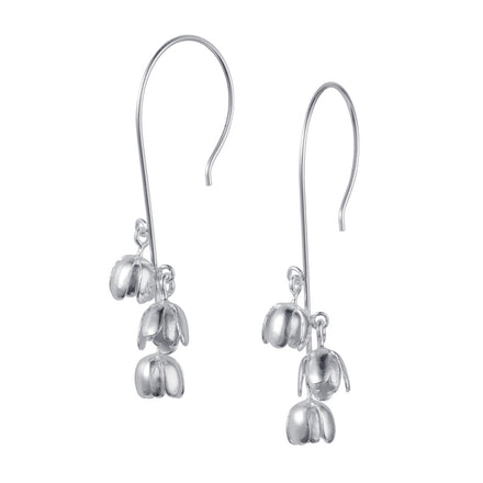 Silver Bluebell Flower Earrings