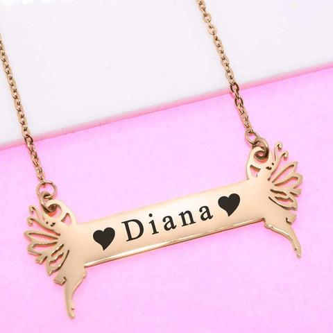 Fairy Name Bar Necklace -Silver Personalised Belle Fever 2