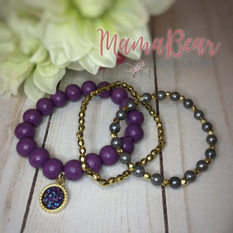 Druzy Purple Bracelet TRIO