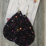 Sequin Faux Leather Dangles