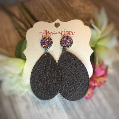 Druzy Genuine Leather Teardrops