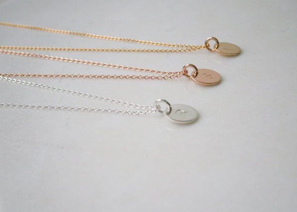 Initial Disc Necklace - Rose Gold