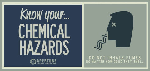 Aperture Science Hazards sign