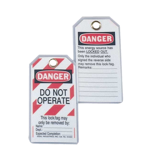 "Ideal 44-1833 Heavy-Duty Lockout Tag, ""Do Not Operate"", Striped, 100/box"