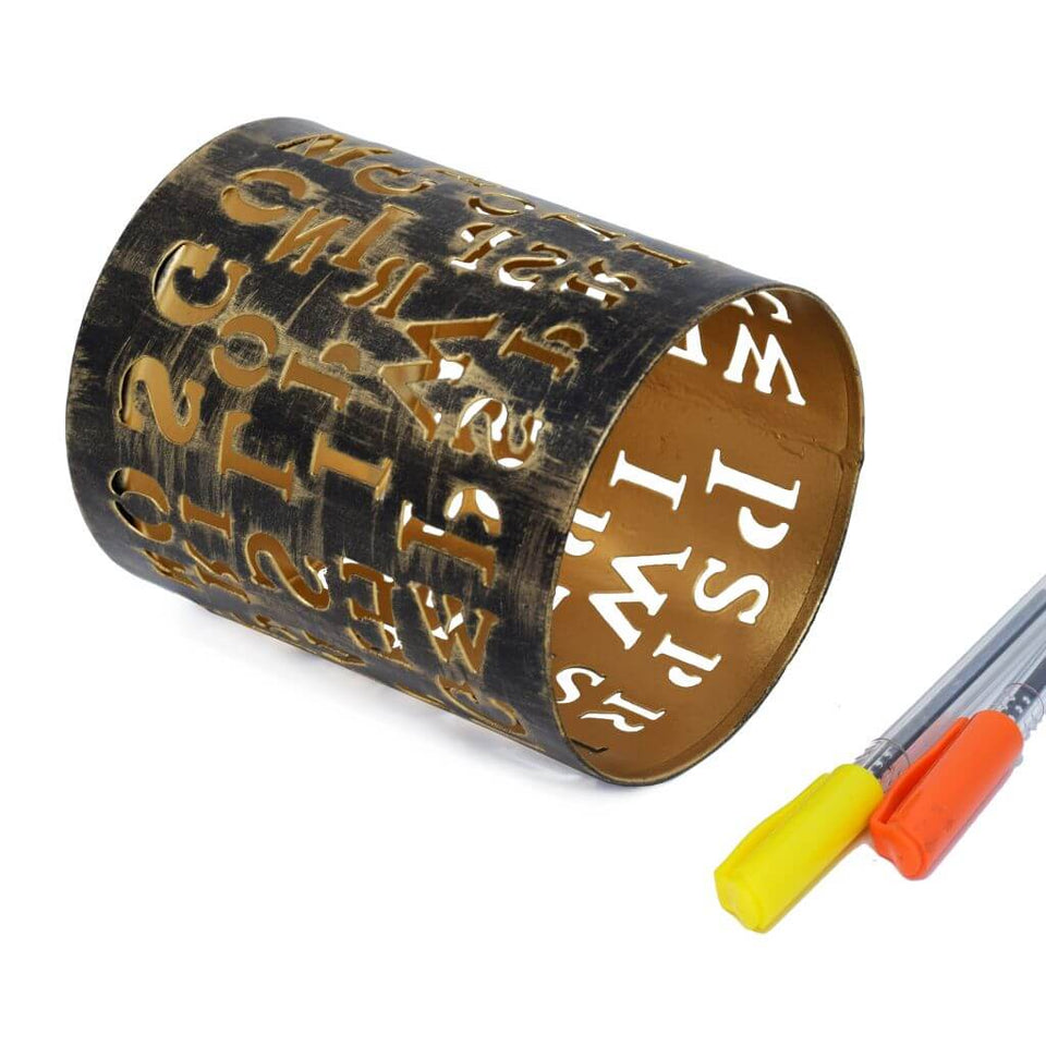 Metal Pen Pencil Holder Alphabet Design