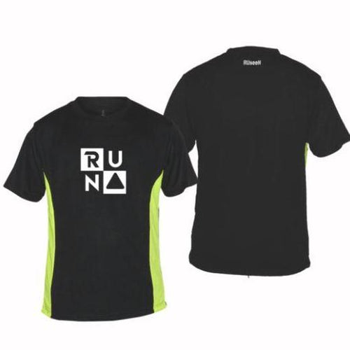 ruseen running mens reflective tee run squared graphic black and lime