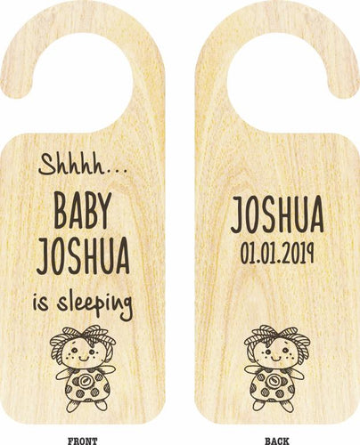 Personalised Baby Door Hanger (Wooden)